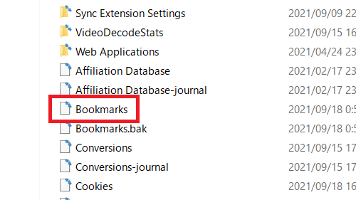 ブックマークは「Bookmarks」という名前のデータファイルで管理