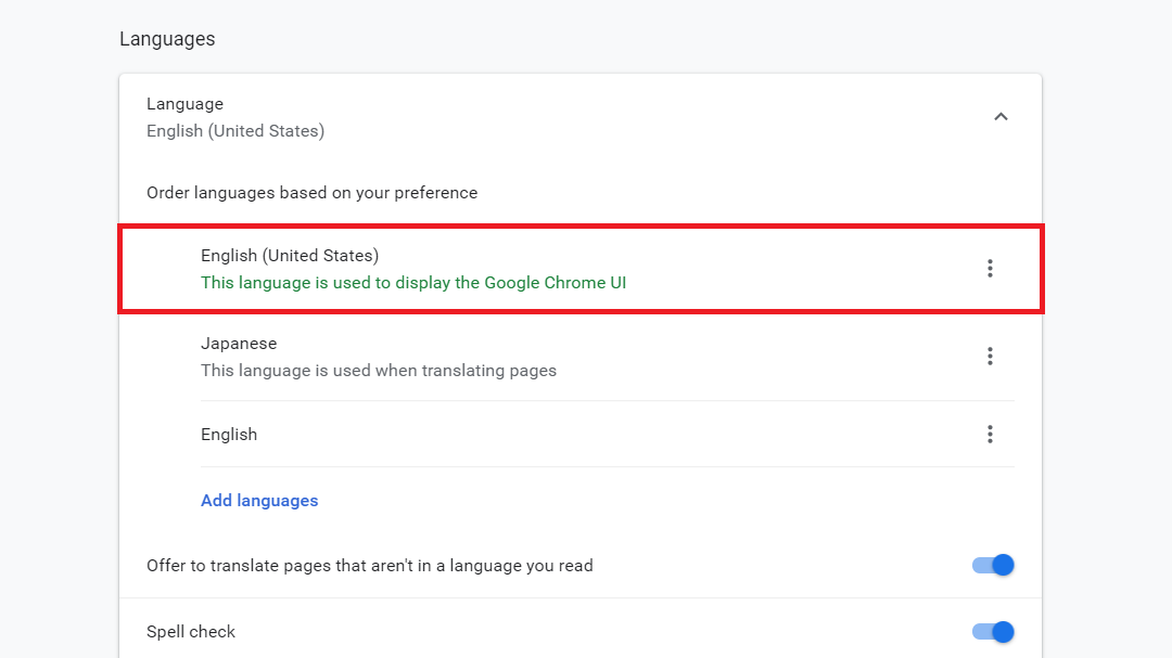 Chromeの言語設定を日本語に直す
