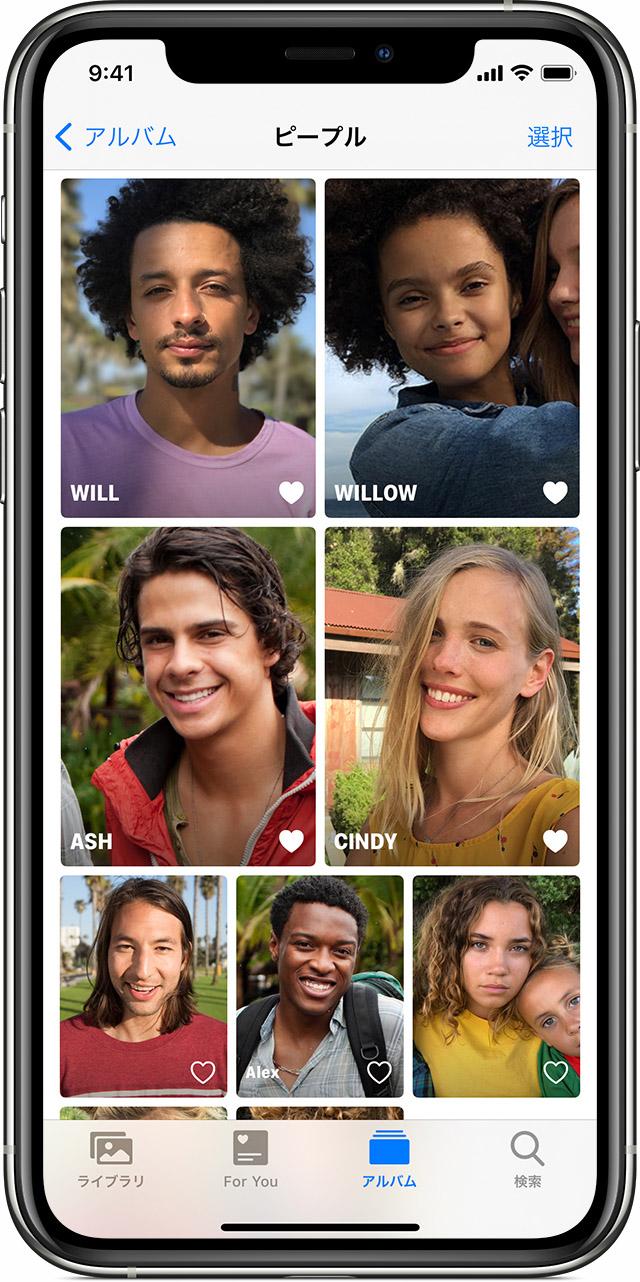 顔を認識をして人物ごとに写真を分類してくれる機能!