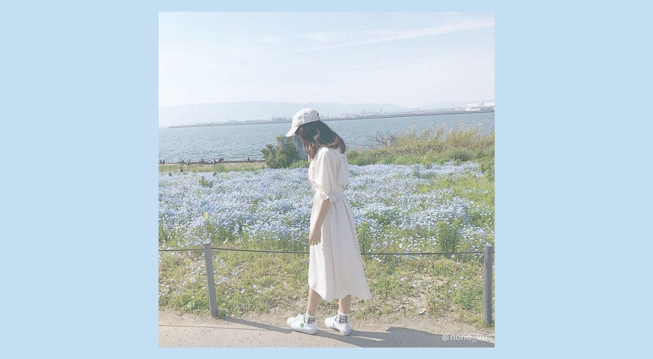 春の風に揺れるのは、お花畑とワンピース。可憐な女の子を演じてみよう♡