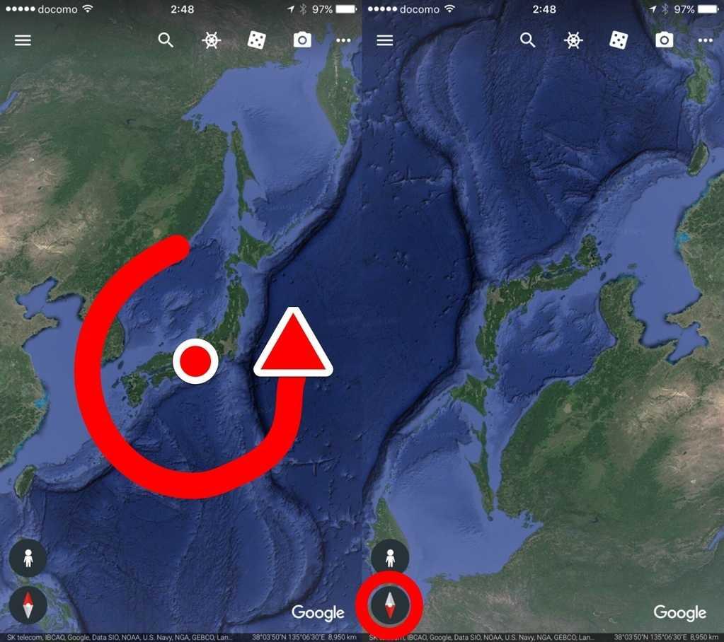 Google Earthの方位変更方法