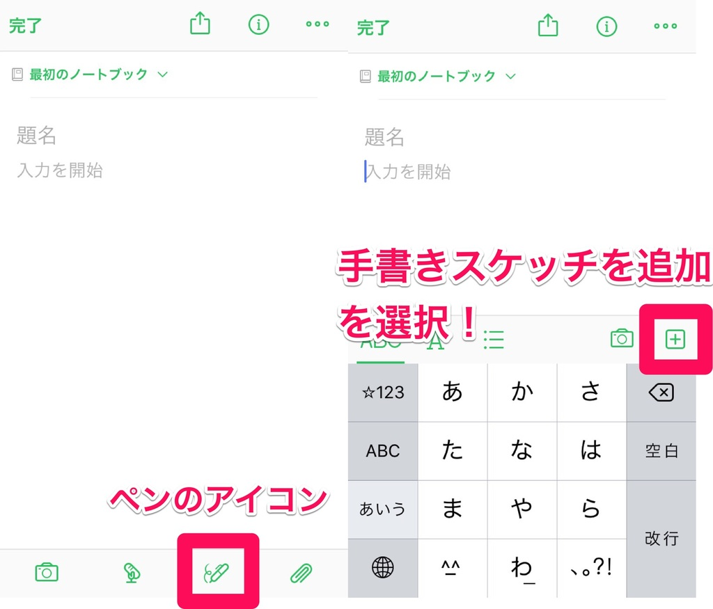 Evernoteでペンアイコンを選択し手書きスケッチ追加を選択
