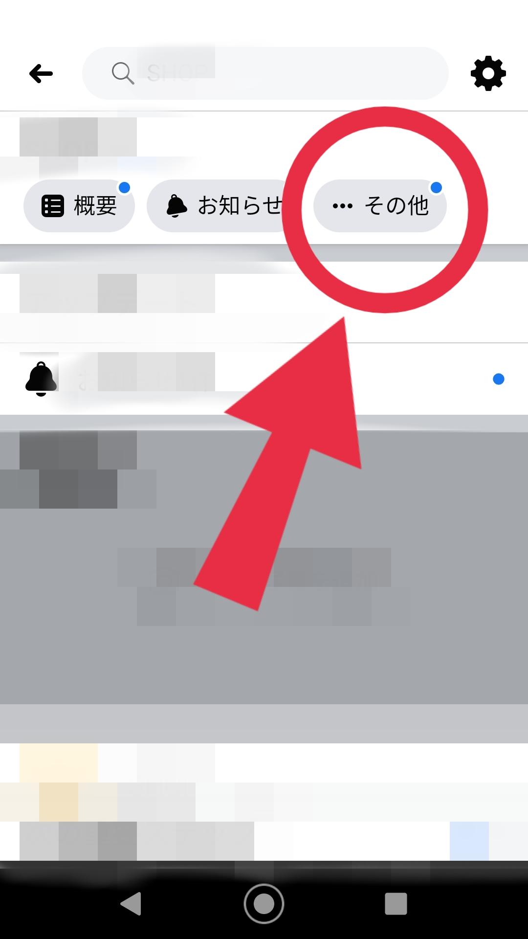 Facebookページ その他 タップ