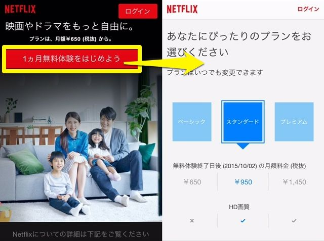 Netflixホームページ