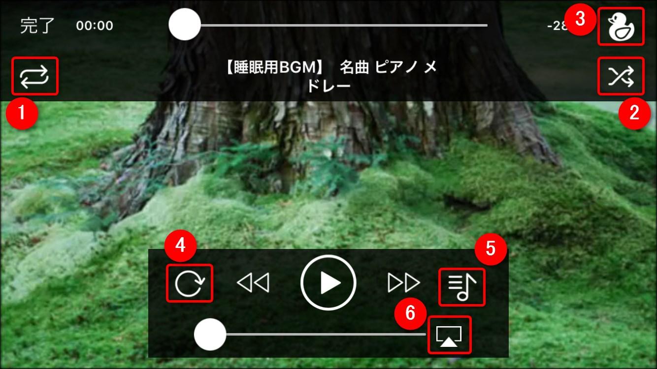 動画プレイヤーの各種アイコン