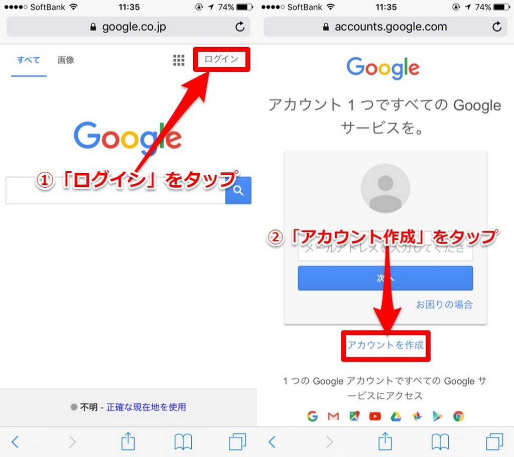 Googleアカウントの作り方