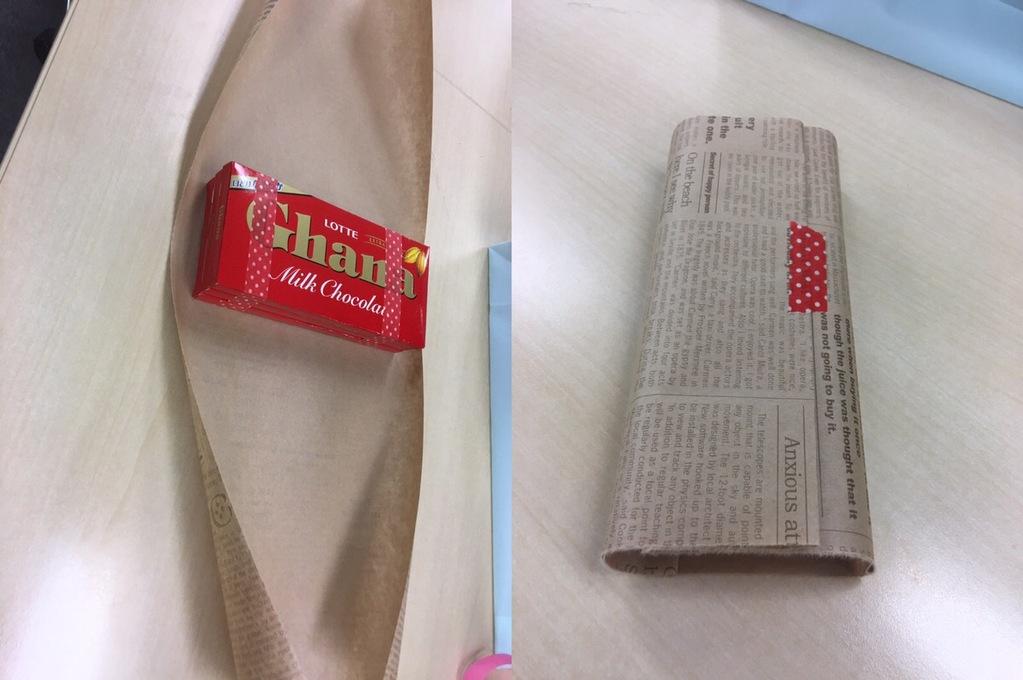 バレンタインチョコの包み方