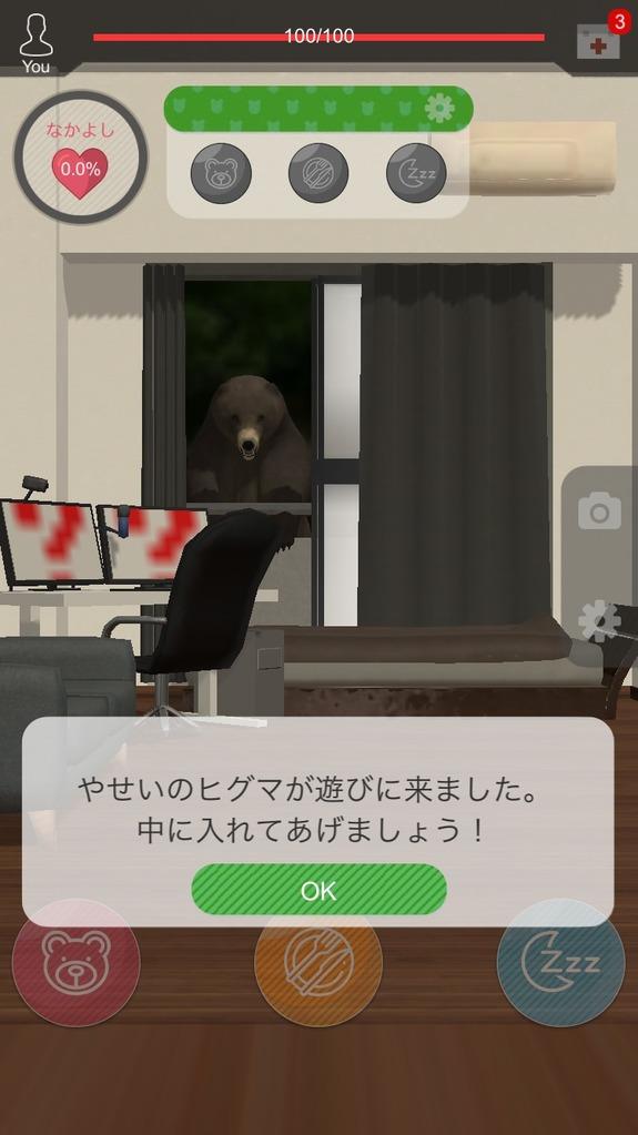 くまといっしょでいきなりやせいのヒグマが窓から部屋に遊びに来た