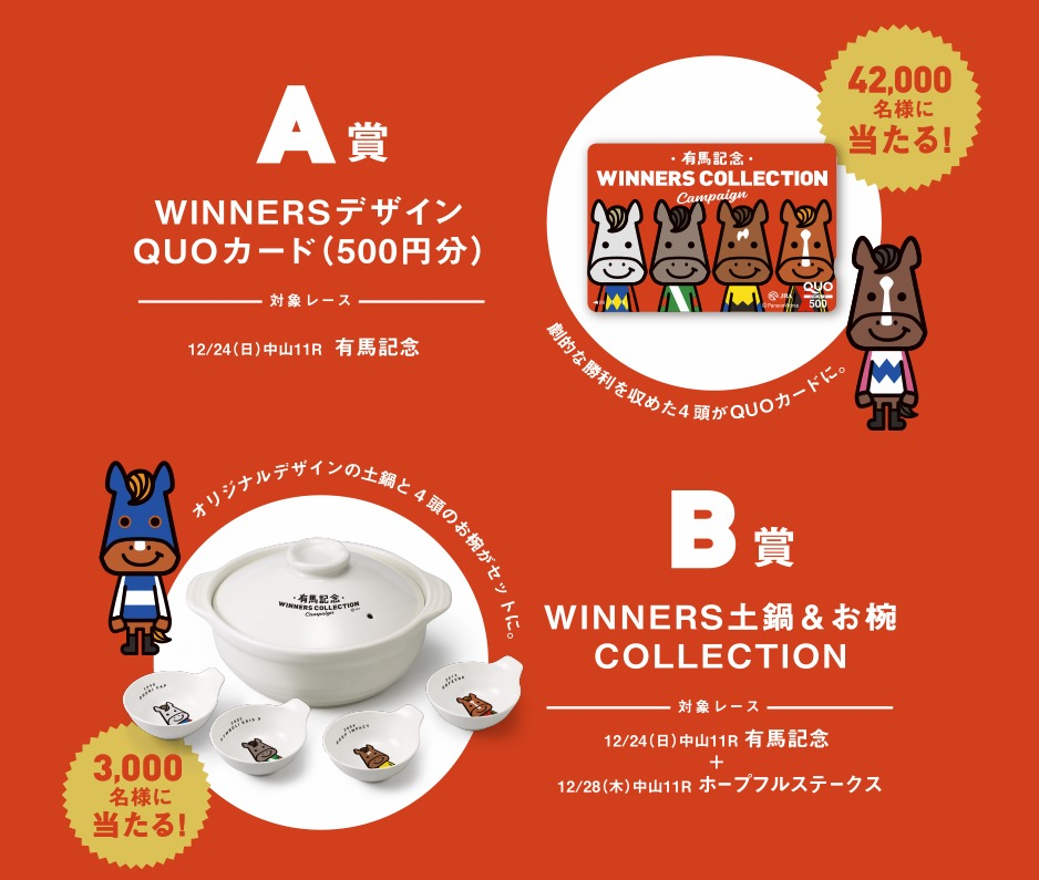 有馬記念ウィナーズコレクションのA賞「QUOカード」と、B賞「土鍋&お茶碗」