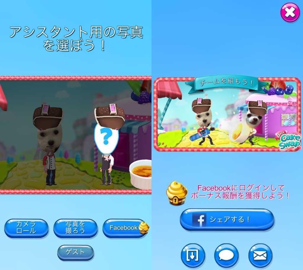 クレイジーケーキスワップのアシスタント用写真選択画面