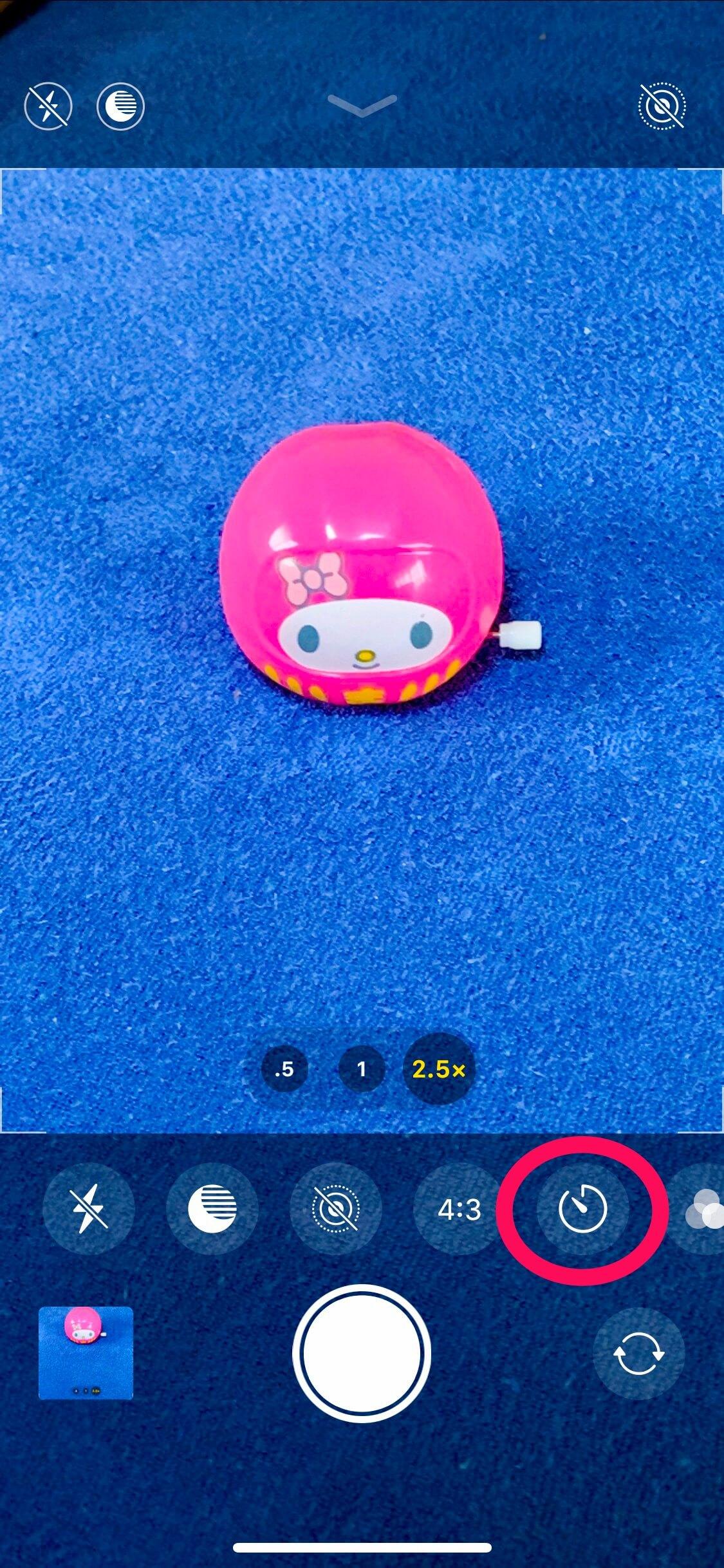 iPhone11 セルフタイマー マーク タッチ