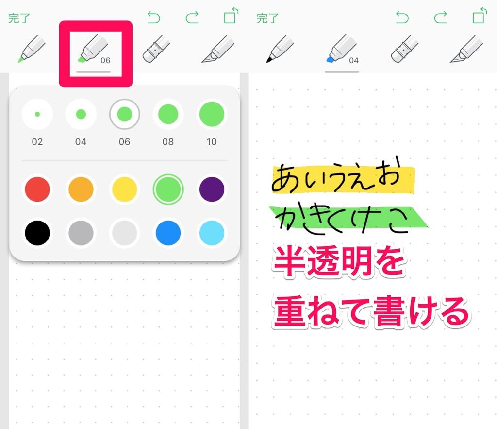 Evernoteのカラーマーカーは蛍光ペンのように文字の上に色を重ねることが出来る