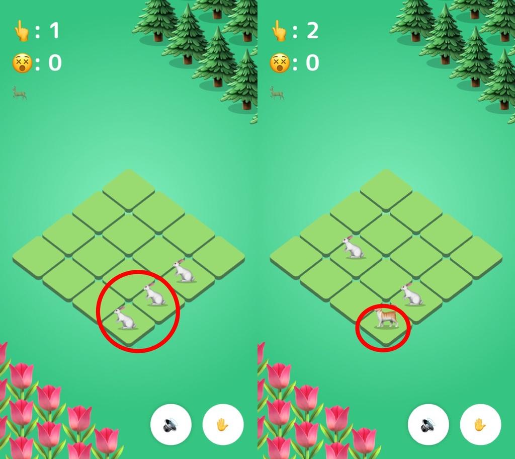 動物絵文字版2048EMOZOOのゲーム画面