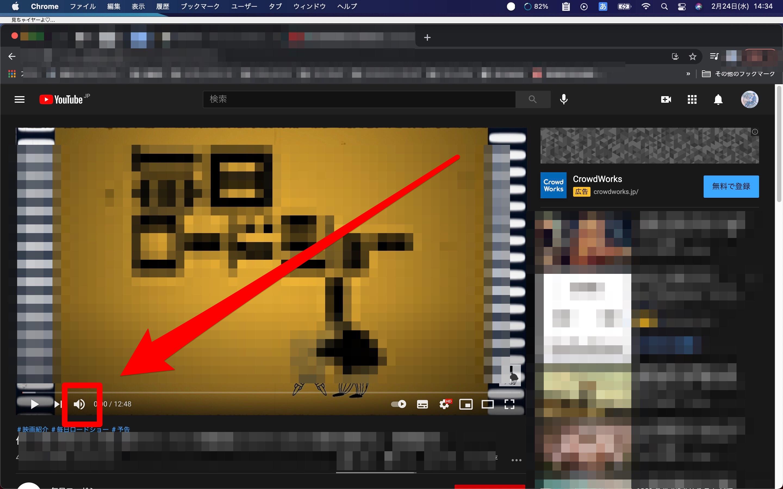 YouTubeのボリュームバー