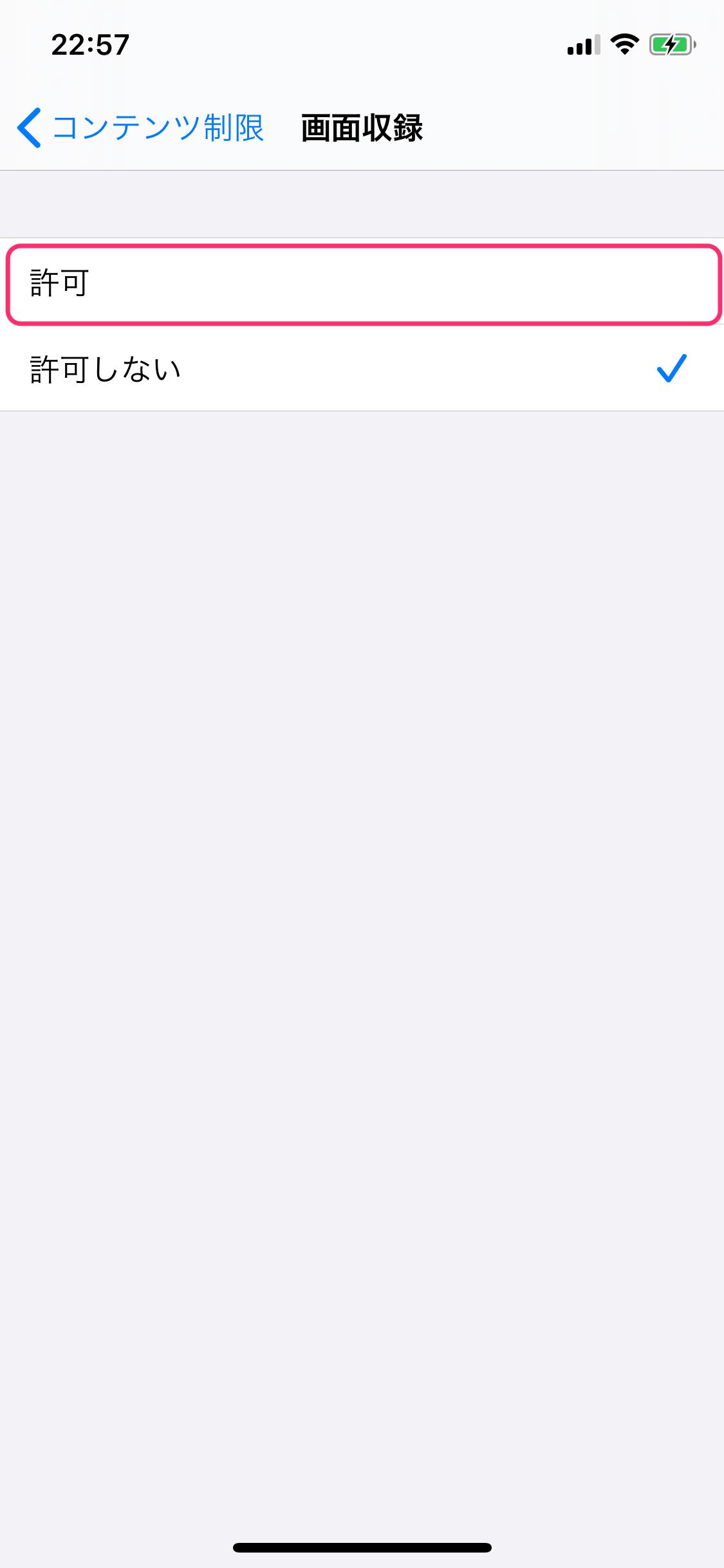 iPhone 設定 画面収録