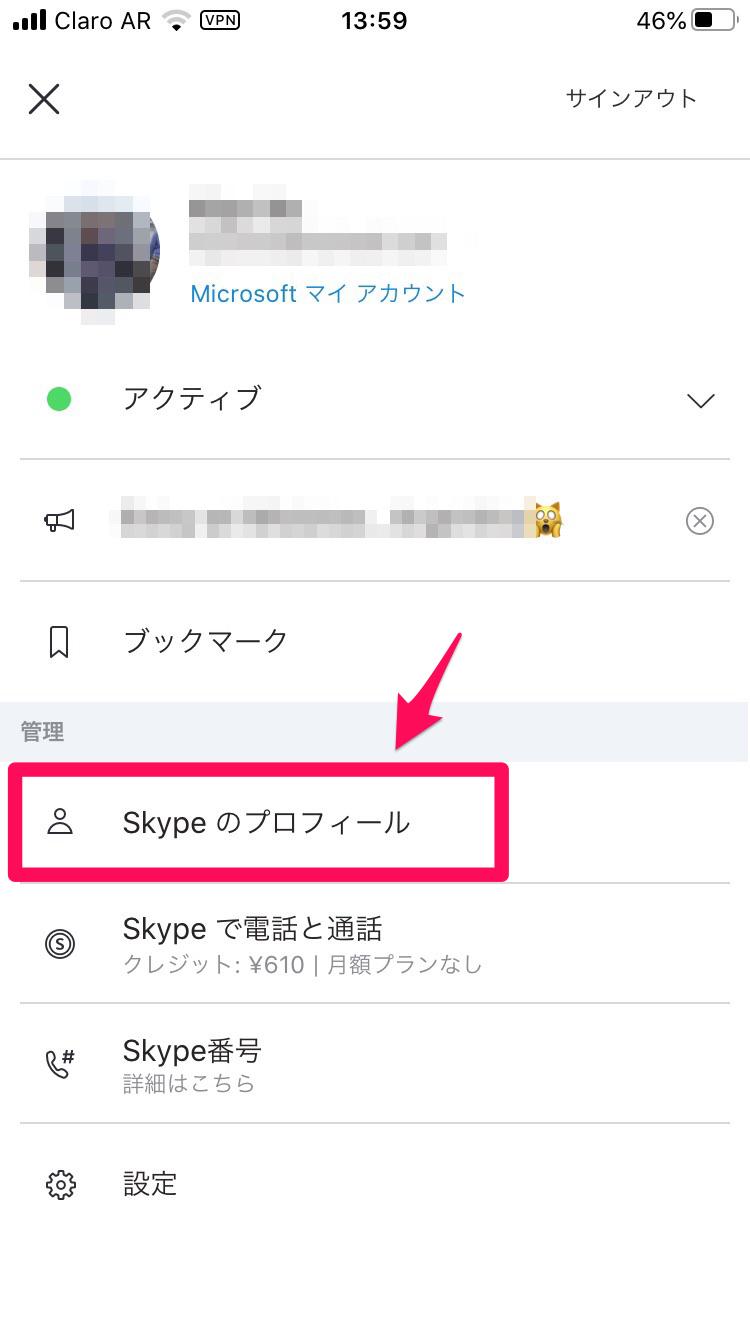 Skypeのプロフィール