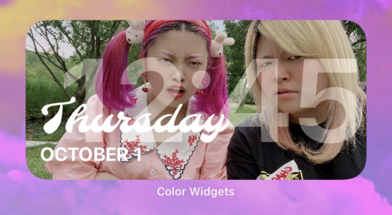 【iOS14】Color Widgetsを使って可愛い時計をホーム画面に!時計に写真を入れる方法も紹介!