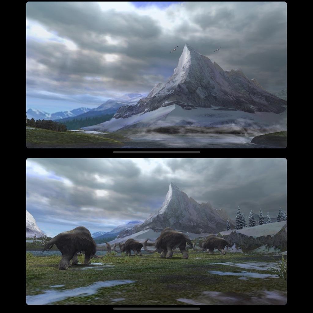 「モンスターハンター ポータブル 2nd G」内の山脈とマンモスの群れ