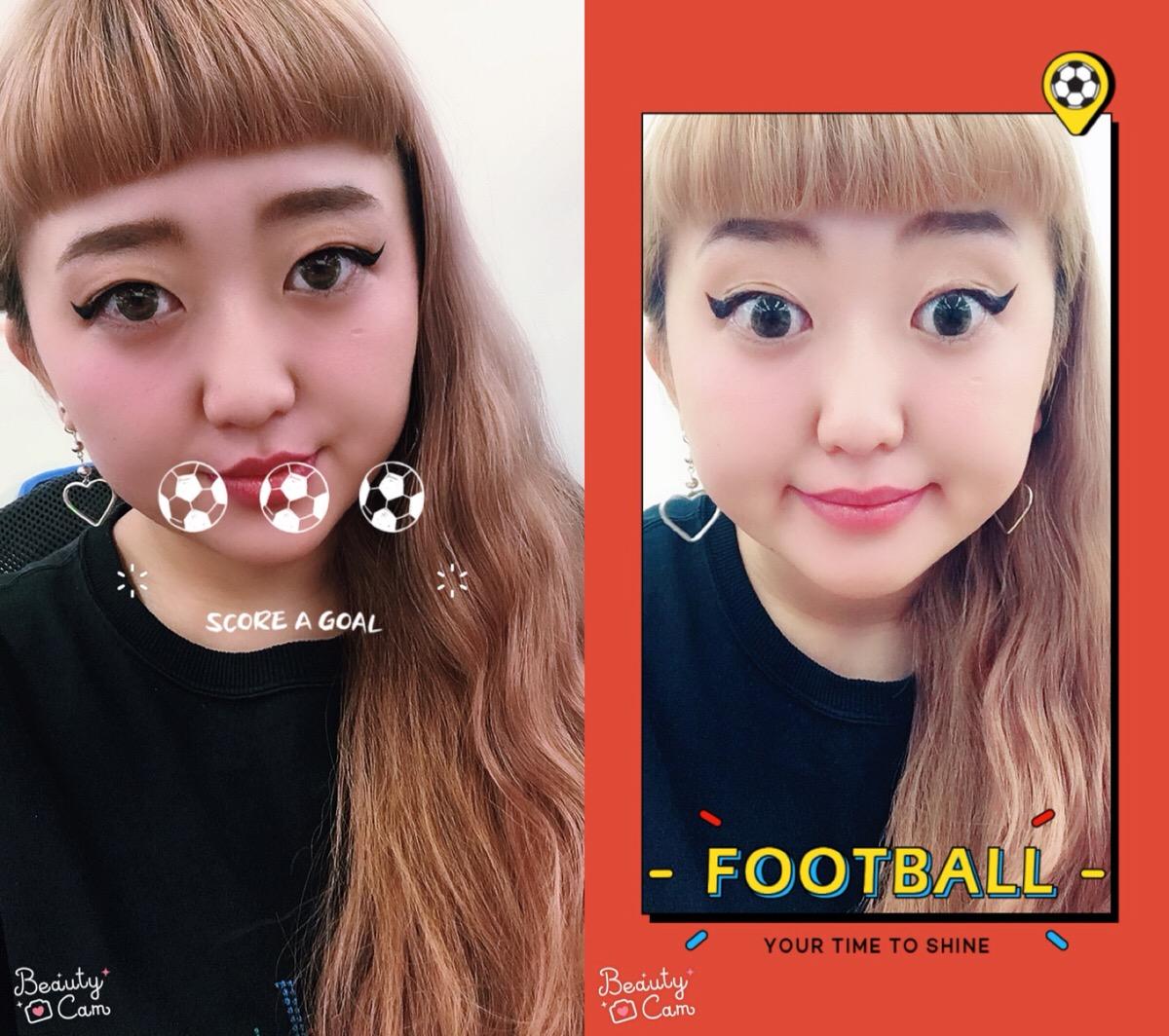 BeautyCamサッカースタンプ
