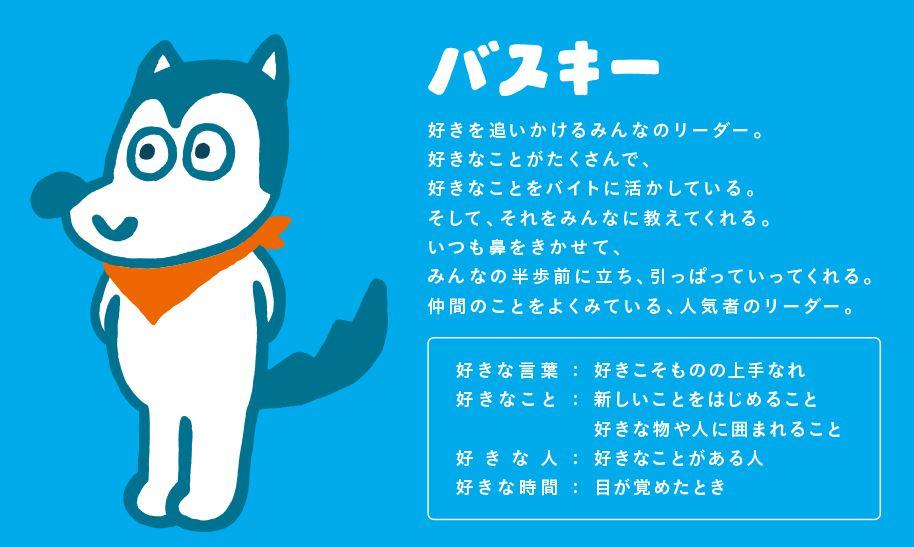 マイナビバイトのイメージキャラクター犬バスキーのプロフィール
