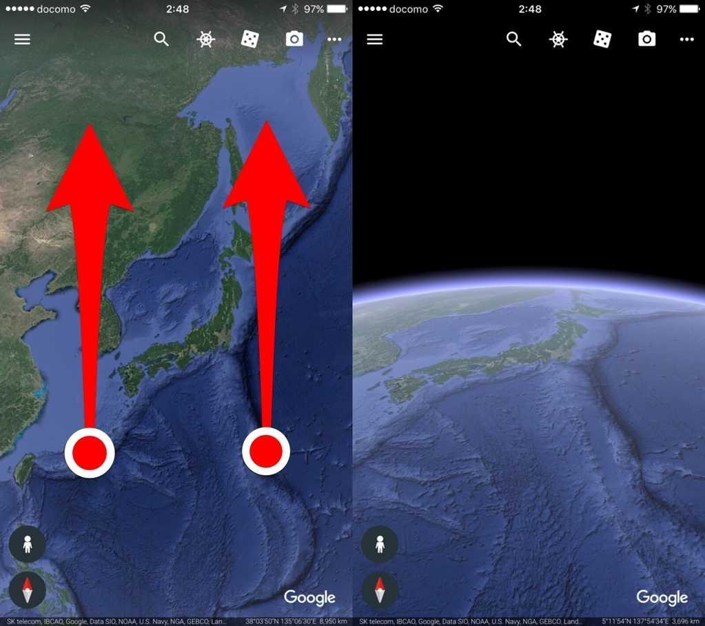 Google Earthの角度変更方法