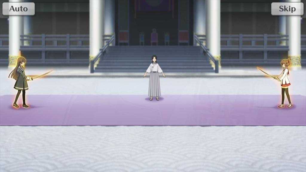 御刀を構えて向かい合う十条 姫和と、衛藤 可奈美