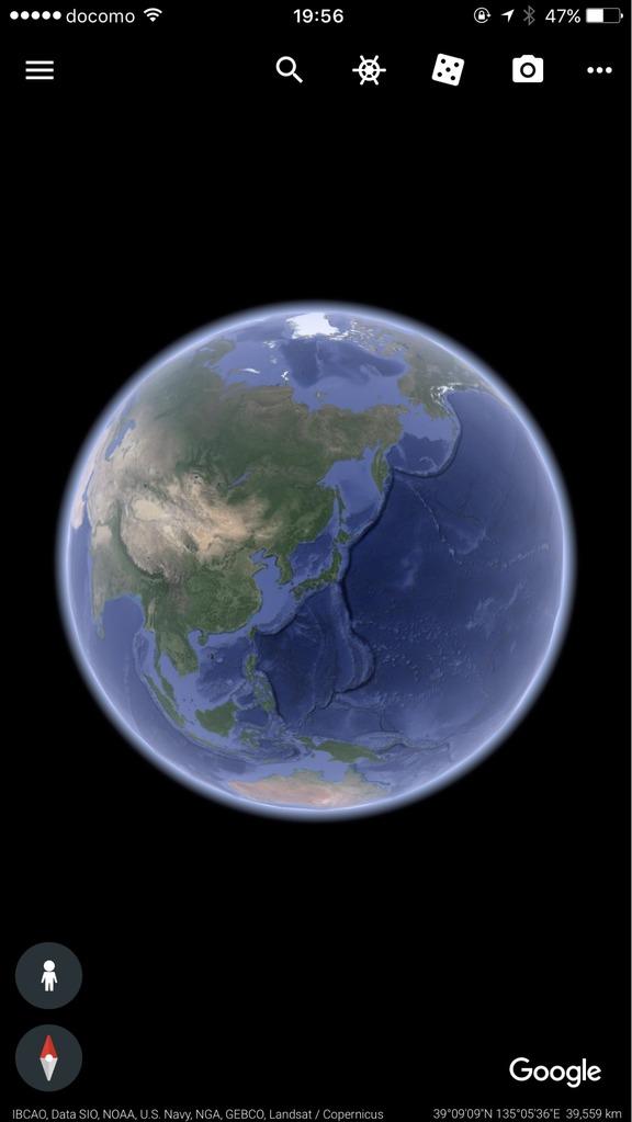 Google Earthの3D地球儀