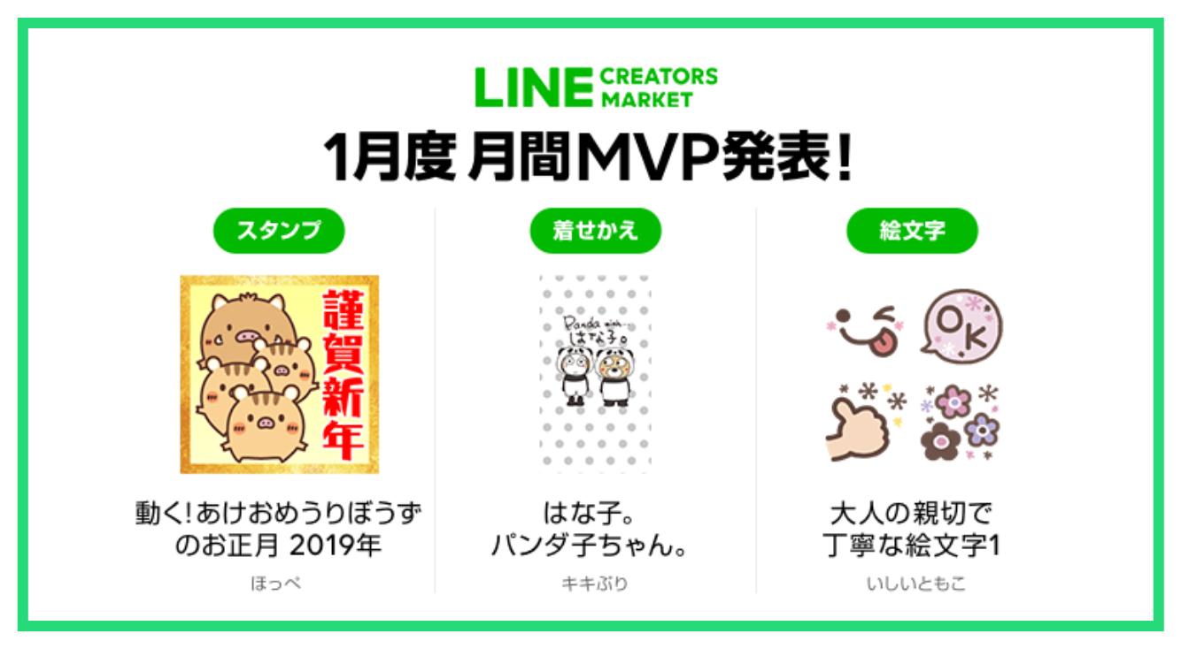 【LINE Creators Market 月間ランキング】1月度のMVPが決定!今月から絵文字や着せ替えの順位も発表です♪