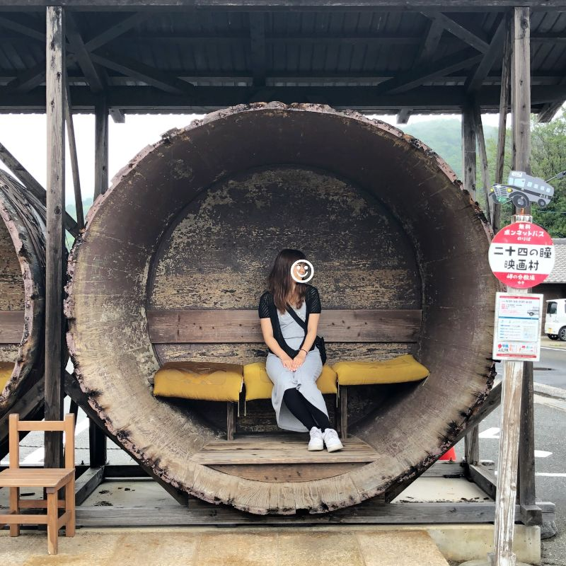 小豆島のフォトスポット二十四の瞳村入り口のバス停